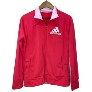 Adidas cherry red full zip track jacket baby pink